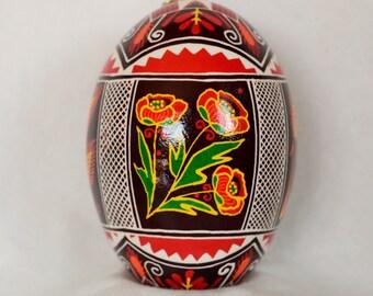 Pisanki Ukrainian beloved Poppy flower Harvest Wheat Goose Egg Ukrainian Easter Egg Pysanky Decorated Egg Made in Michigan USA