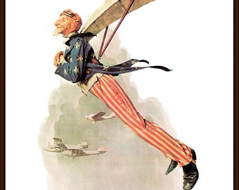 Uncle Sam Takes Wings Post Cover painted by Norman Rockwell,1/21/1928.The page is approx. 11 1/2 inches wide and 15 inches tall.