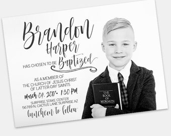 LDS Baptism Announcement- Boy Invitation - Missionary Farewell- Baptism Invite- Handlettering Invite - typography