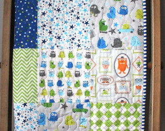 Friendly Monster Quilt- Blue and Green Baby Bedding- Monster Nursery- Baby Boy Quilt- Unique Baby Boy Gift- Hipster Nursery- Homemade Quilt