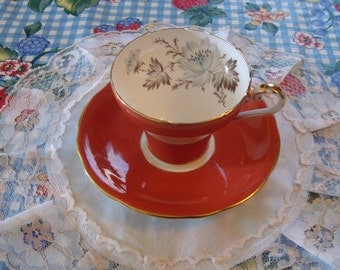 Coral Pink Aynsley Bone China - Vintage English Tea Cup and Saucer - White Flowers and Brown Leaves