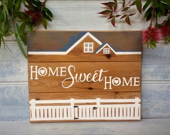 """Hand painted farmhouse style """"Home Sweet Home"""" sign - Cypress pine wood - Housewarming, Wedding, Engagement gift - Country cottage - Rustic"""