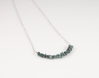 SALE! Sterling Silver & Blue Green Raw Diamond Necklace