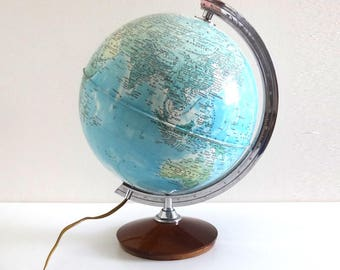 Vintage 1970s World Globe Lamp - Retro Earth Globe Light
