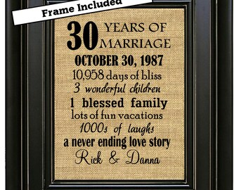FRAMED 30th Wedding Anniversary Gift 30th Anniversary Gifts 30th Anniversary Gift 30 years of Marriage Gift Anniversary Gift for Parents
