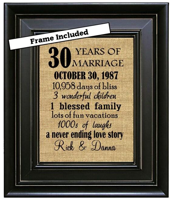 Cadeau pour 30 ans de mariage parents