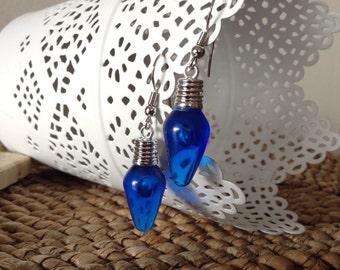 Blue festive Christmas Tree lightbulb dangle earrings. Pefect for the holidays!