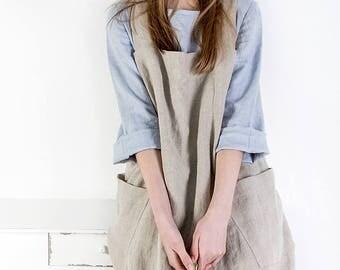 Linen Pinafore, Linen apron, Square Cross Linen Apron, Japanese Apron, Sizes XXS to XXL, linen tunic, women's dress