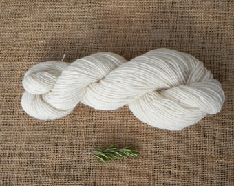Virgin wool white merino yarn organic wool eco farming our merino sheep pure wool 2 ply natural, wool for dyeing,90 gr, 3,17oz