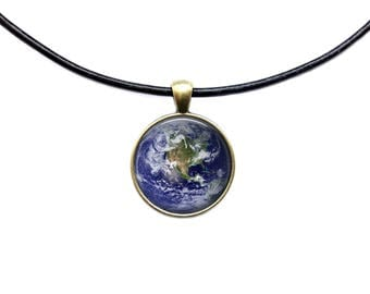Galaxy jewelry Astronomy necklace Earth planet pendant