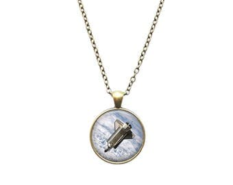 Astronomy necklace Space Shuttle pendant Space jewelry