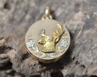 Victorian Turn of the Century Deer locket