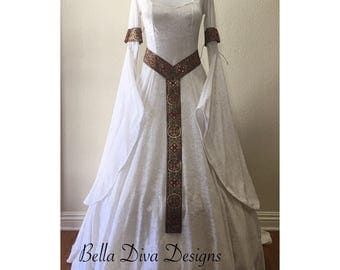 Custom, Hand Made to Order. 'Mairenn' Celtic, Medieval Dress, Fantasy Dress, Renaissance Dress, Wedding Dress