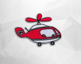Red Helicopter Iron on Patch (S) 5.6 x 4.2 cm - Chopper Applique Embroidered Iron on Patch