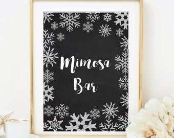 Winter Wedding, Mimosa Bar Sign, Silver Glitter Snowflakes, Chalkboard, DIY Printable Wedding Sign, INSTANT DOWNLOAD