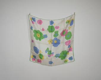 "Vintage 1970s Flower Power Scarf - Abstract Floral - Pastel - Head Wrap Tapestry Wall Hanging Neck Tie - 19"" x 19"" - Square"