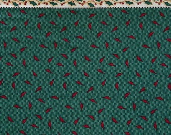"""South Sea Imports ~ Vintage Fabric ~ Mumm's The Word by Debbie Mumm ~ 1/2 """" Red Cardinals on Green Checked Background With Ivy Strip Border"""