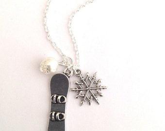 Snowboard Necklace, Snowboarding Necklace, Snowboarder Necklace, Snowboarder Gift