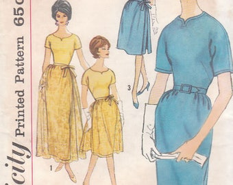 Vintage 60s Simplicity 4175 Misses and Womens Slederette Dress and Overskirt and Evening Dress and Overskirt Size 14, Bust 34