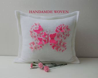 Butterfly pillow, Decorative Pillows, Embroidered pillow, Baby room decor, Pink Pillow, Pillow covers, personalized pillows, Baby gift, Art