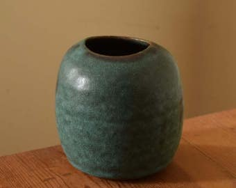 Turquoise Matte Bud Vase, Pottery Vase by Fire Garden Pottery. Brown stoneware clay, cone 10 reduction firing.