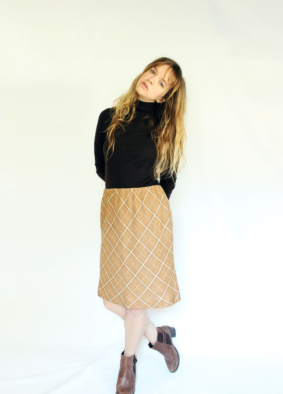 Mustard Yellow Plaid Linen Skirt with Elastic Waist, Vintage plaid straight skirt Bias Cut Tartan, Knee Length Skirt, Neutral Color Clothing