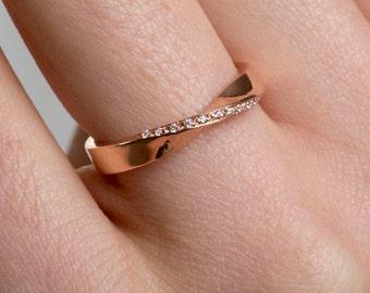 Mobius Gold Ring, 18k Moebius Ring, Diamond Mobius Ring, Rose Gold Band, Twist Wedding Ring, Infinity Twist Ring, Diamond Band, Gold Ring