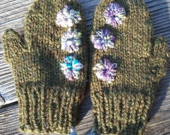 Woolen Mittens with Embellishments for Toddlers
