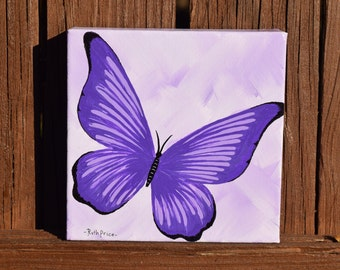 Fly Away Purple Butterfly Painting on 6x6 Canvas