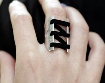 Corset Ring, Silver Black Leather Ring, Bondage Ring, Statement Ring, Double Bar Ring, BDSM Ring, Cuff Ring, Men And Women's Ring, RS-1046