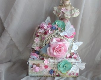 Altered boxes, mixed media Victorian, Marie Antoinette party, wedding shower decor, party centerpiece, shabby n chic box, romantic home