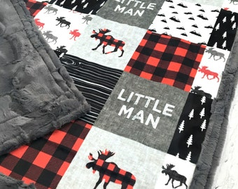 Little Man Minky Blanket - Faux Quilt - Designer Minky - Grey