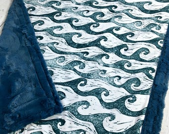 Surfs Up Minky Blanket - Waves - Designer Minky