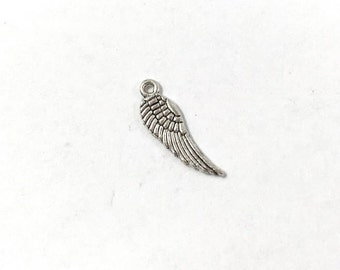 20 Silver Angel Wing Charm 2-Sided Angel Wings Charms Angel Wing Charm 0104M