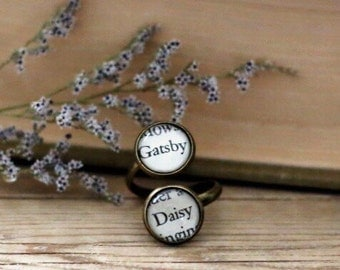 Great Gatsby double book page ring. Gatsby and Daisy.  Book Page Jewelry. Statement ring