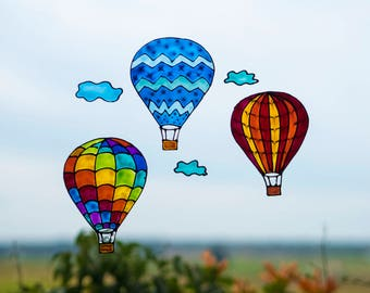 Three Colorful Hot Air Balloons, Nursery Window Decoration, Hot Air Balloon Decals