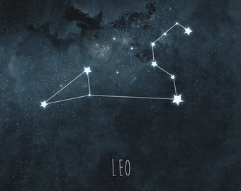 Leo Constellation Art Print, Stars Room Decor, Zodiac Wall Art, Night Sky Watercolor, Starry Night