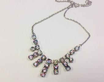 Vintage Art Deco iris or rainbow crystal necklace. 1930s iris diamante necklace. Rainbow glass.