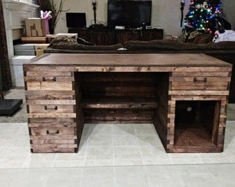 Rustic Wood Desk, Office Desk, Wood Work Desk, Farmhouse, Industrial Wood Desk, Wood Work Space, Computer Desk, Office Furniture, Desk, Home
