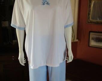 NEW - X Large 26/28 Blue and White Tricot Pyjamas. Plus size Sleepwear/Loungewear
