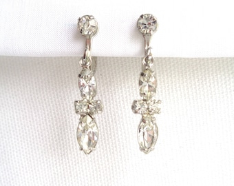 Gorgeous Crystal Dangling Vintage Earrings - Round and Marquise Cut Clear Rhinestone Screw Back Earrings - Estate Jewelry