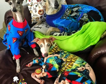 Italian Greyhound Super Heros fleece for IGGYs, Whippets and other custom pups.