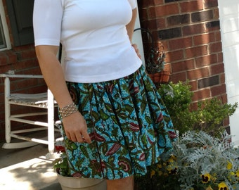Ankara skirt, African Print Skirt, Skirt, Gathered Waist Skirt