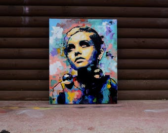 """Twiggy, Original Oil Painting, 30"""", 40"""", Portrait, Large, Wall, Art, Canvas, Abstract, Palette knife, Model, Worldwide Shipping"""