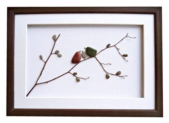 Bird family wall art, Pebble art family of 3 gift, Anniversary or New home housewarming gift, Framed Stone Art, Family home décor, 3D art