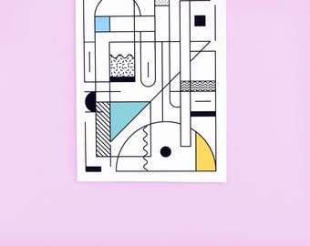Pastel graphic poster - geometric and abstract - wall decoration trend - A4 size - rack idea