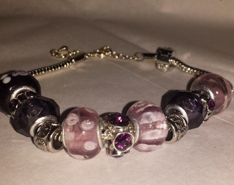 Charm Bracelet- lavender, light purple and silver