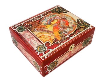 Jewelry Box Mucha Zodiac Home Decor Wooden Jewelry Box Wood  20x30 cm Art Nouveau Trinket Box  Ring Box Gift for Her Wood  Gift For Women