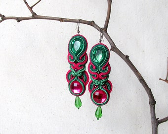 Cute earrings Spring Green pink earrings Easter gifts for her Festival earrings Soutache earrings Bold Prom earrings Gift for teens earrings