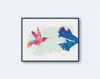 Hummingbird Watercolor Poster
